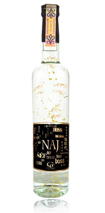 Darčeková fľaša - vodka (borovička) so zlatom najlepší šéf ff09a23a960